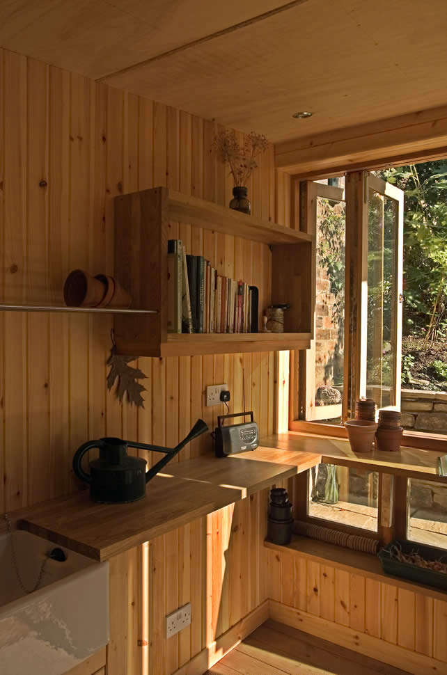 Cedar paneling covers the interior walls.
