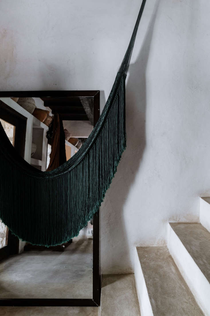 Fringed hammocks hang inside and out. They&#8\2\17;re traditional on the Yucatán peninsula, woven from the Sansevieria plant by &#8\2\20;a few remaining artisans who still know and value the technique of making threads from its leaves.&#8\2\2\1;