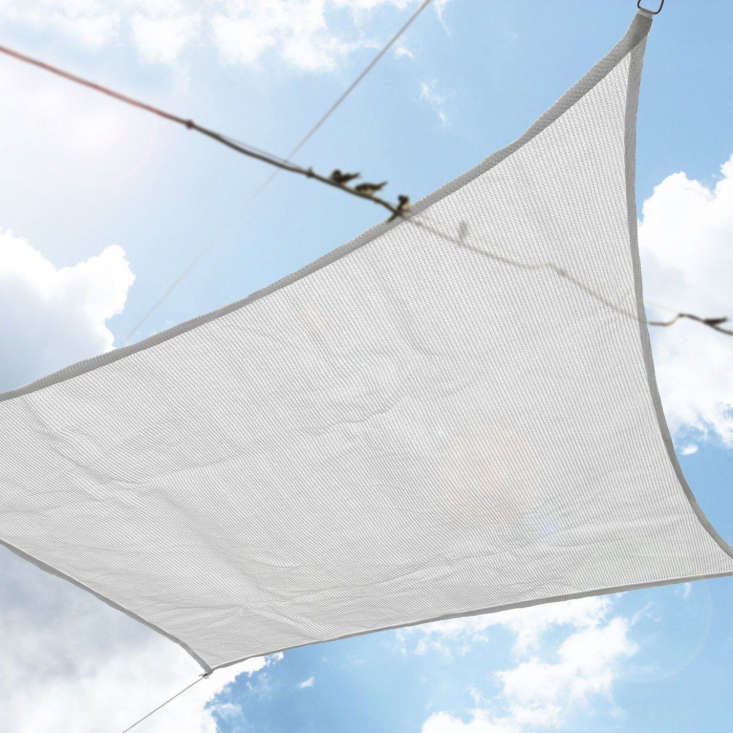 The Derstadt UV Block Sun Shade Sail in classic white is \$66.99 at Amazon. It&#8\2\17;s made of HDPE \185 GSM (high-density polyethylene) that is breathable and 98 percent UV-resistant.