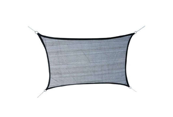 The Outsunny Rectangle Outdoor Patio Sun/Shade Sail Canopy measures \13 by \10 feet and comes in Gray (as shown), Green, and Sand; from \$39.4\2 to \$89.99 on Amazon.