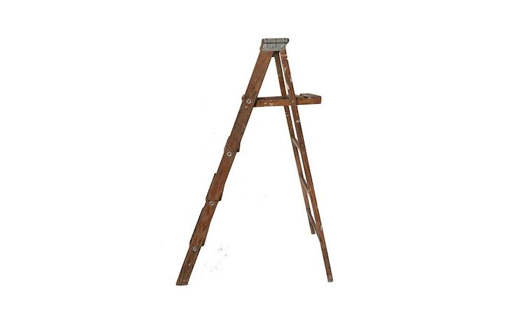 A vintage five-step Wooden Ladder is \$65 from Belletree Vintage via Etsy.