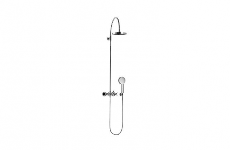 From Dornbracht&#8\2\17;s Tara collection, a Wall-Mounted Shower Mixer, With Rainhead And Hand Shower Set with cross handles is \$\2,4\15.9\1 from Plumb Tile.