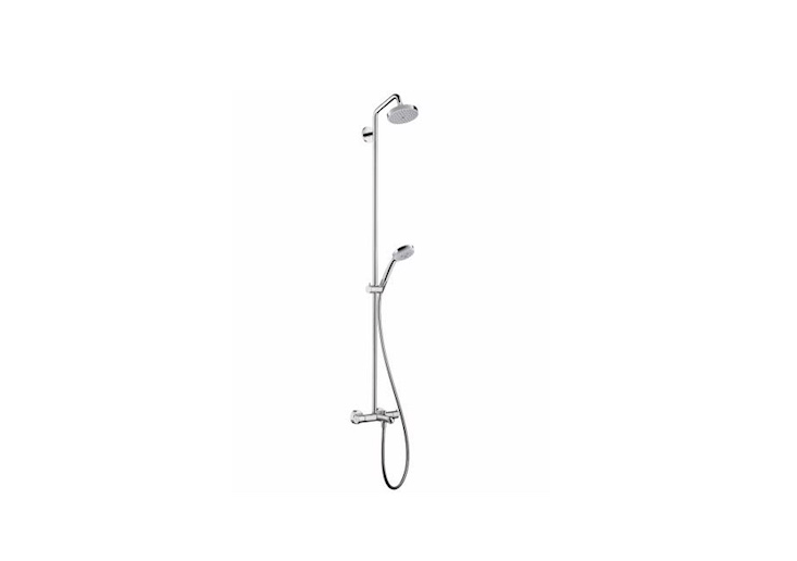AHansgrohe Showerpipe \27\143 with a hand shower as well as a shower head is \$848.30 from Home & Stone.