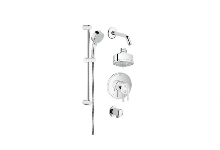 AGrohe Starlight Chrome Shower Faucet Package is \$369.60 from Faucet Direct.