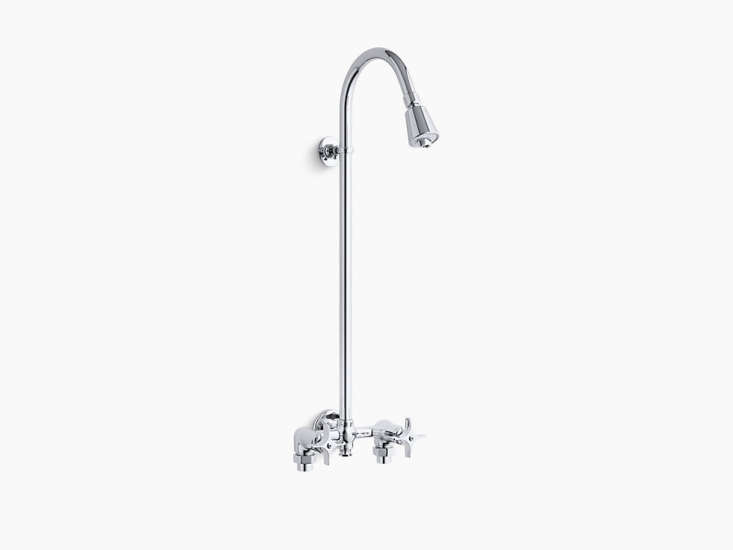 Affordable industrial simplicity, courtesy of Kohler. A polished chrome Industrial Exposed Shower K-7\254-CP has an adjustable shower head and is constructed of solid brass; it sprays \2.5 gallons per minute and is \$38\1.4\1 from Amazon.