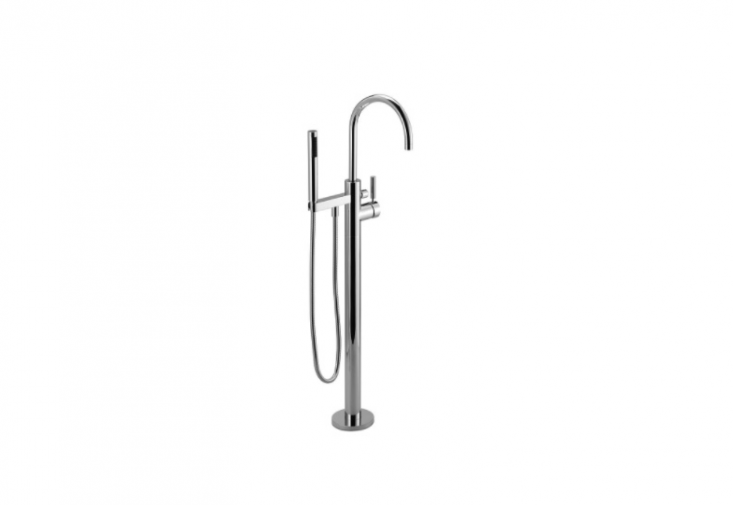 ADornbracht Tara Logic Wall Mounted Shower Set with thermostat, rain shower head, and hand shower; \$5,\145.35 at Quality Bath.