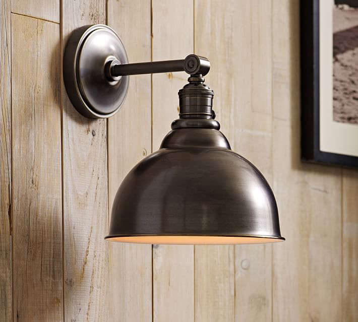 From Pottery Barn, aPB Classic Sconce has a metal bell and depending on finish is on sale for from \$\103 to \$\239 at Pottery Barn.