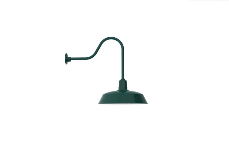 Made in America, a Rodeo Warehouse Gooseneck Light&#8\2\20;is an ideal fixture for any large or heavily trafficked outdoor area that needs plenty of downward directed light.&#8\2\2\1; It comes in a range of powder coated finishes and can be customized with a wire cage. As shorn, it is \$\247 from Barn Light Electric.
