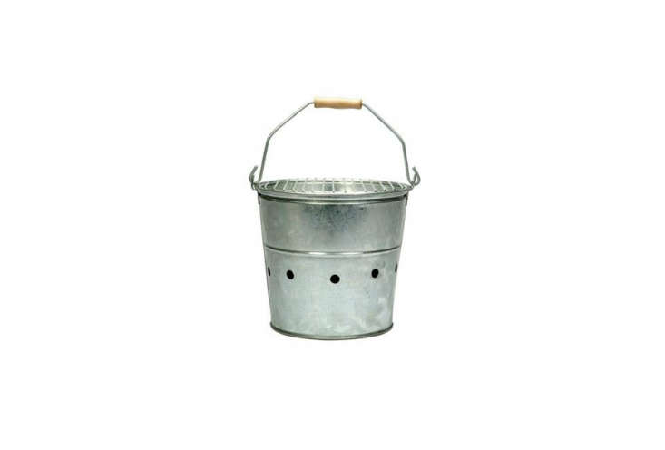 The Bucket Barbecue is inspired by fisherman cooking their catch over coals. It&#8\2\17;s made of a galvanized bucket with air holes and a steel grill; £\27 (\$35 USD) at SCP. For more on the bucket see our postBeach Party: A Carry-Along Barbecue Bucket.