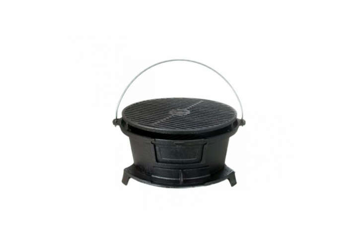 From Cajun Cookware the Seasoned Cast Iron Round Hibachi Grill is $9 on Amazon.
