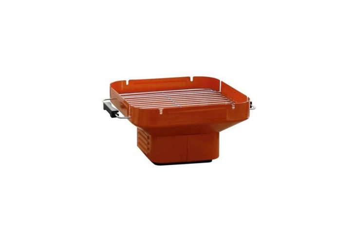 From HEAT, a collapsible Portable Charcoal Grill with adjustable grill height, a chrome grill, and handles is available in four colors including orange (shown) ; it&#8\2\17;s €59.95 (\$70 USD) from Fonq.