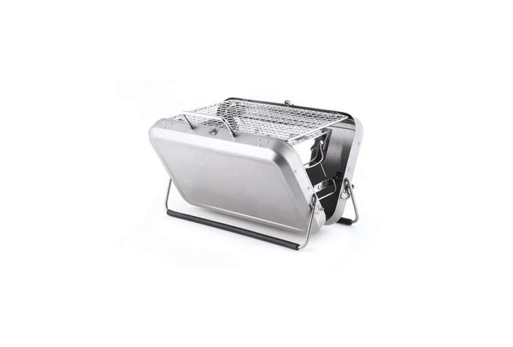 ThePortable BBQ Suitcase by Kikkerland has a charcoal grill instead of a stainless steel suitcase; \$85 at Kikkerland.