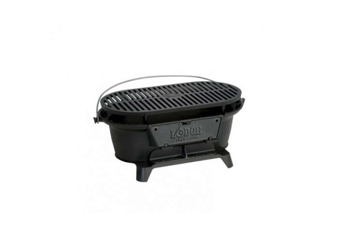 The Lodge Pre-Seasoned Sportsman Charcoal Grill is a hibachi-style grill; $94. on Amazon.