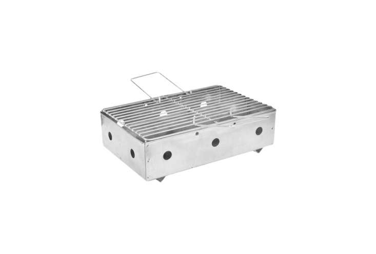 The Rectangular Galvanized BBQ has removable metal handles for carrying; £34 ($44 USD) at Dyke and Dean.