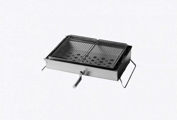 Japanese outdoor brand Snow Peak makes the Double BBQ Box with allows for variable heat with the height adjustment crank; $9.95 at Snow Peak.