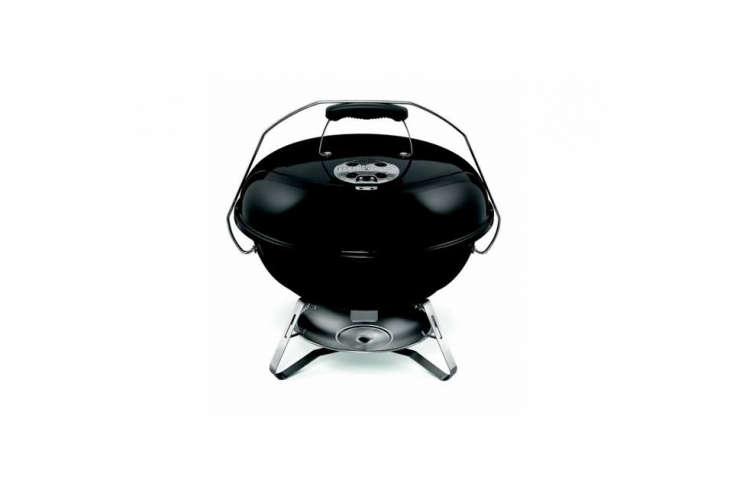 The Weber Jumbo Joe Grill has a glass-reinforced handle and a lid that locks for carrying; $60 at Sur la Table.