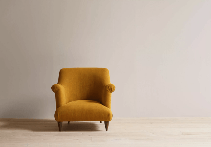 We could all use some sun in the winter months. This ochre armchair is a good substitute for the real thing. For details, see  Easy Pieces: Classic Upholstered Arm Chairs.