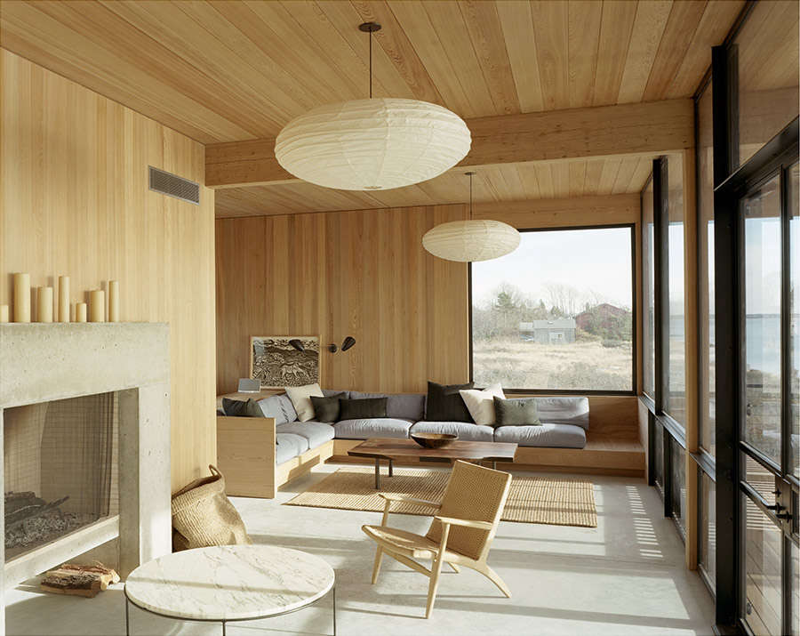 The living room of Cary Tamarkin's Shelter Island home