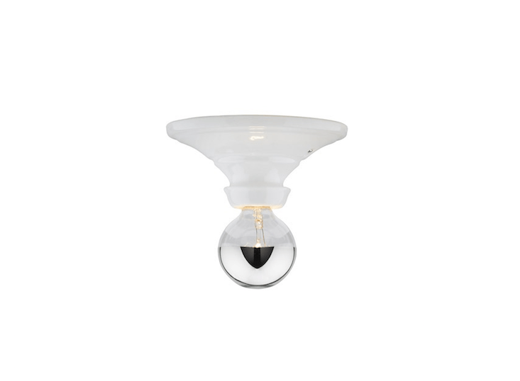 A Hannah Bare Bulb socket fixture is available with either a black or white porcelain base; rated for use in a damp spot, it is \$\149 from Rejuvenation.