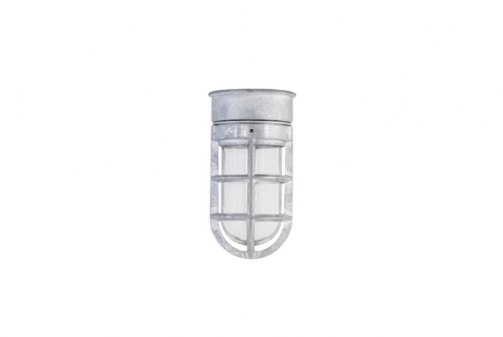 Rated for use in a wet location, a Bullet Cast Guard nautical ceiling fixture configured as shown is \$\1\14 at Barn Light Electric.