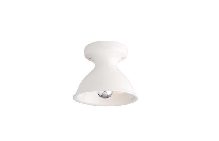 Cast and glazed in Portland, Oregon, a Large Alabax flush mount ceiling fixture can be specified with a UL damp rating and comes in four colors including white as shown; \$\139 from Schoolhouse Electric.