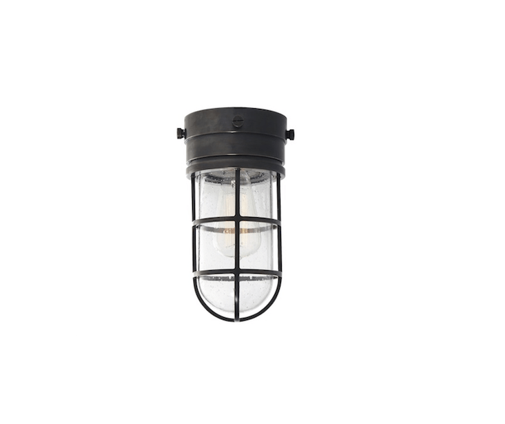 A Marine Flush Mount Light is suitable for use in a dry, covered porch. It is \$4\20 from Circa Lighting.