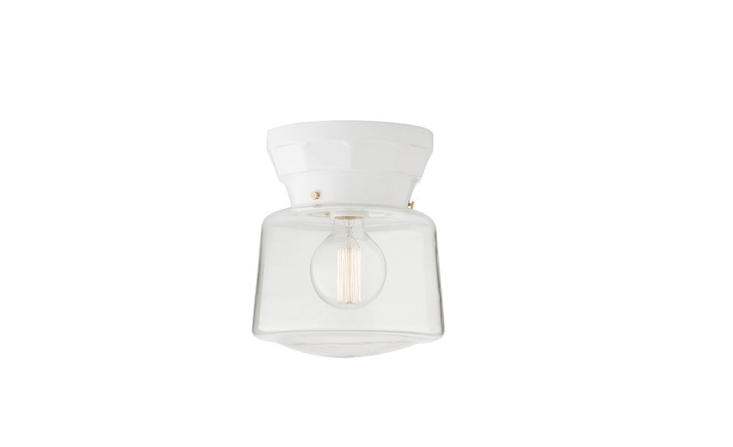 From Schoolhouse Electric, a Norfolk ceiling fixture with a 4-inch fitter is suitable for use in damp locations. It is \$\169 (shade sold separately).