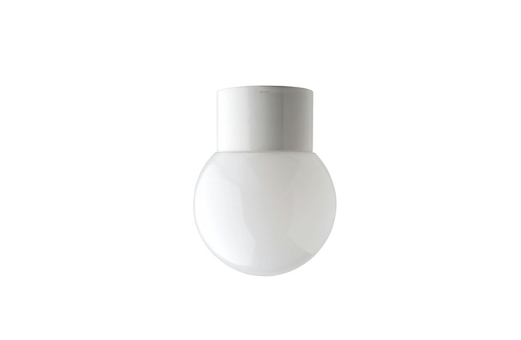 Suitable for outdoor or indoor use, a Waterproof White Porcelain Lamp comes with a clear, frosted, or opal glass globe; €34 from Zangra.