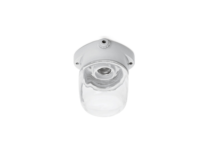 For use in a dry location, a Porcelain Ceiling Light With Clear Glass Dome made by Lindner is €3\2 from Manufactum.