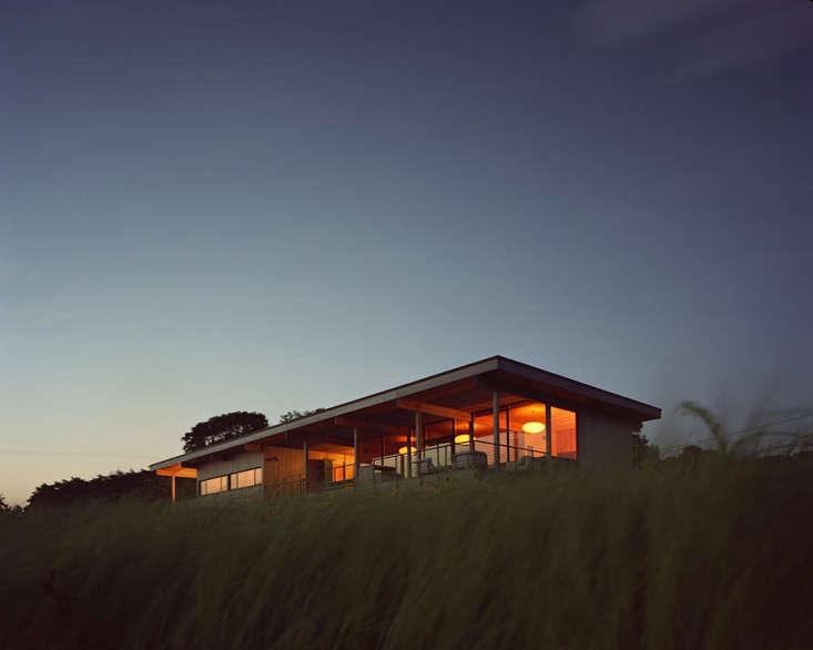 Gary Tamarkin's Shelter Island home glows at night