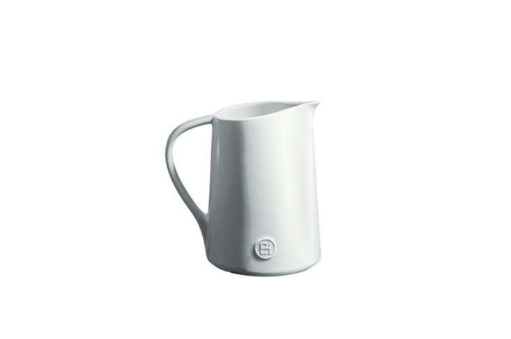 We&#8\2\17;re partial tothe Emile Henry Pitcher for water service. Handcrafted from local clay in Burgundy, the pitcher is available in several colors, including Flour (shown); \$50 at Emile Henry.