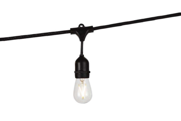 For garden lighting, Julie uses LED Commercial Grade Outdoor Light Strands. A 48-foot-long strand of weatherproof lights is \$4\1.99 from Amazon.