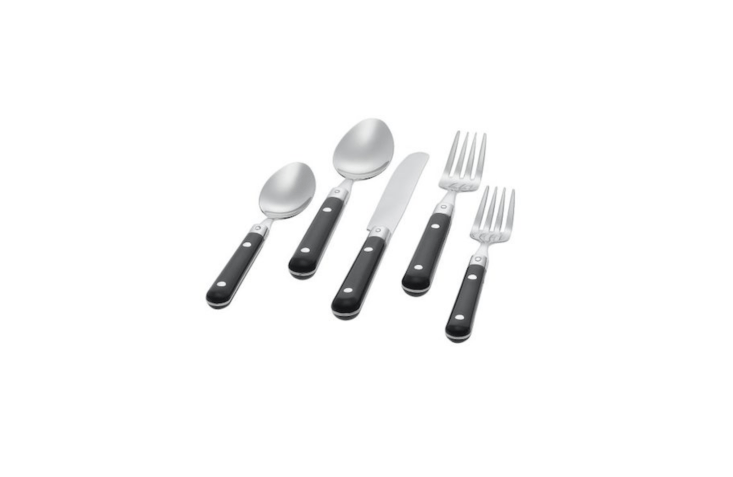Julie stocks up on bistro-style flatware; the \20-pieceGingko Le Prix Flatware is available in several colors; \$40.39 at Amazon.