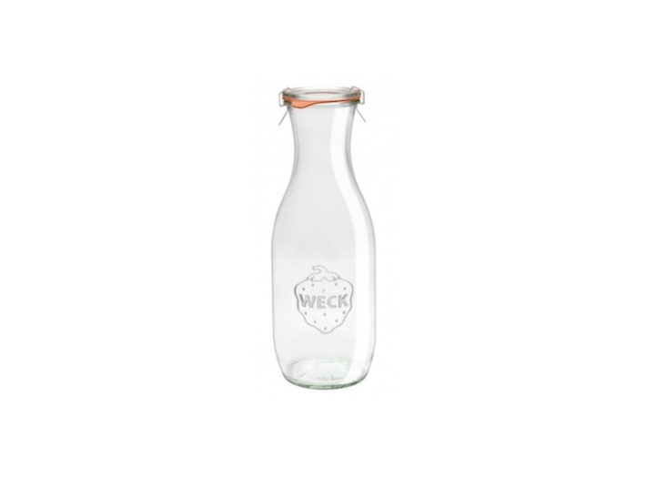 The Wide Mouth Juice Jar from German company Weck can be used as a refrigerator-to-table container for homemade iced tea, coffee, or juice. A set of two 7.\25-inch jars is \$\14 at Terrain (rubber rings and metal clamps included).