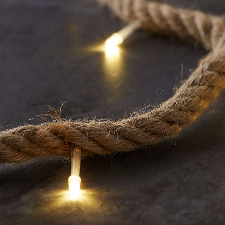 Recommended for indoor use only, a jute rope is dotted (every 4 inches) with white LED lights.