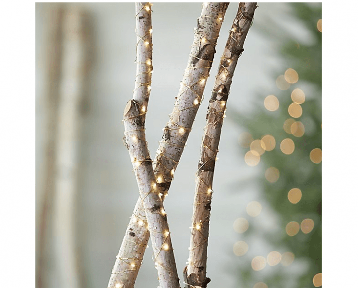 A 50-foot strand of Twinkle Gold String Lights has continuous light LED light bulbs on UL approved wire; \$59.95 from Crate & Barrel.