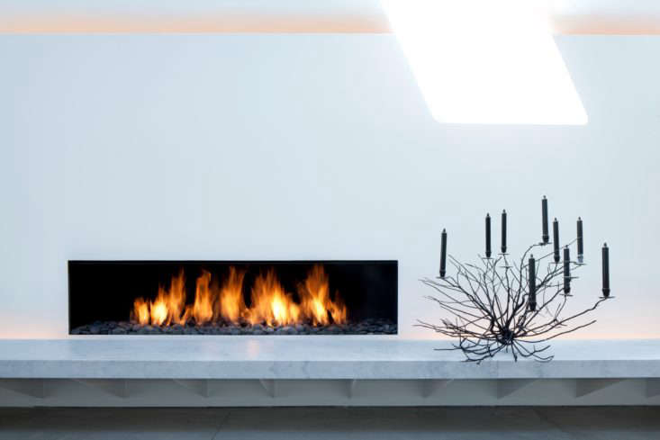 The fireplace of a Telluride home designed by John Pawson