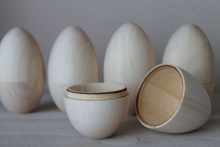 hollow wooden Easter eggs via Etsy