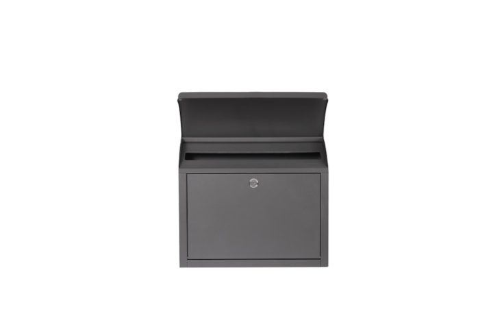 Made of powder-coated steel with a soft charcoal finish, aGrey Metal Post Box is £50 from Cox & Cox.