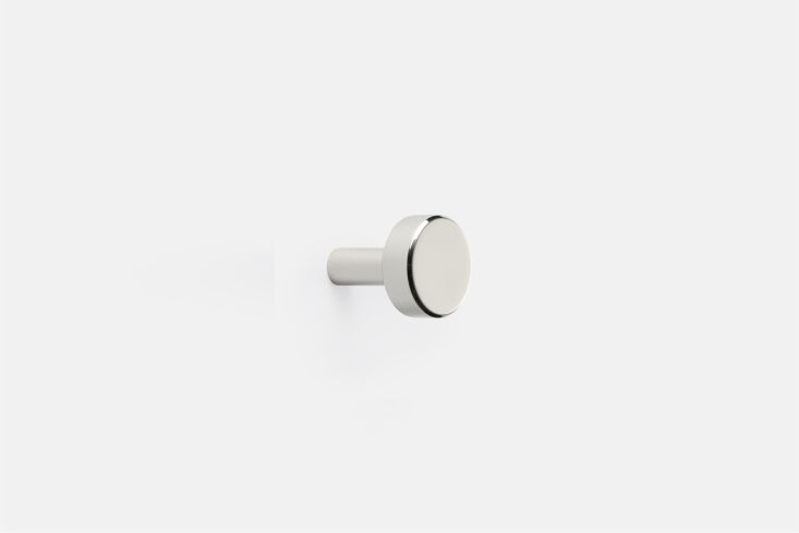 Another easy idea for a simple update? Swap out the cabinet hardware. (This one is from Rejuvenation.) Find some ideas in \10 Easy Pieces: Modern Cabinet Knobs.