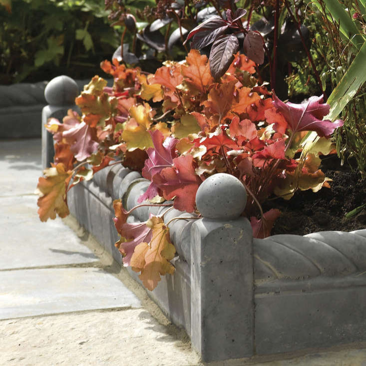 Made of concrete and engineered stone, Rustic Rope Top Edging from Bradstone comes in four colors. For prices and information, see Bradstone.