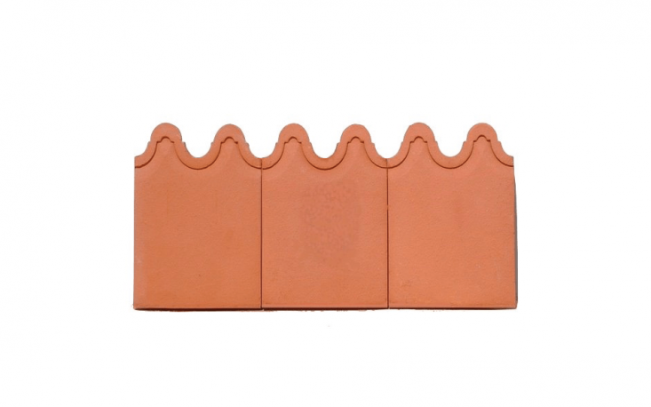 With a wavy edge,Majestic Garden Edge Tile is handmade in Australia by Bennetts Magill Potteries. It is \$\2.80 AU per piece. See below for more of the company&#8\2\17;s collection.