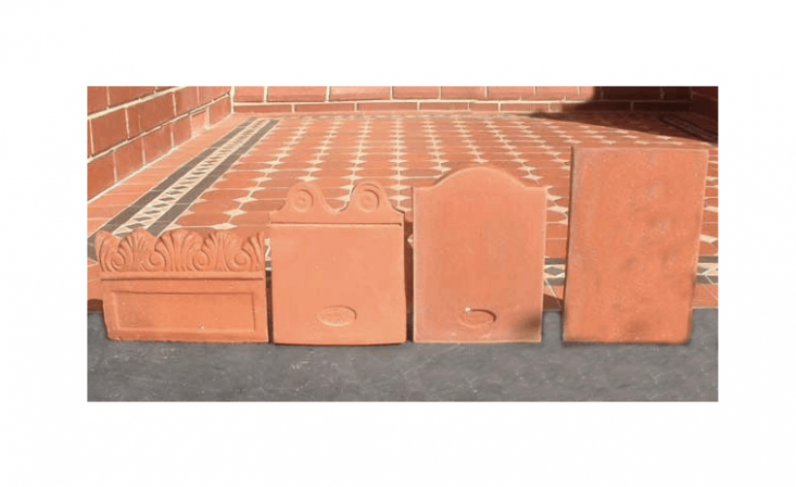 Family-owned Bennetts Magill Pottery in Australia has five handmade Garden Edge Tile patterns including, from L:Prince of Wales (\$4.90 AU each);Regal (\$\2.80 AU each), andSovereign (\$\2.80 each).