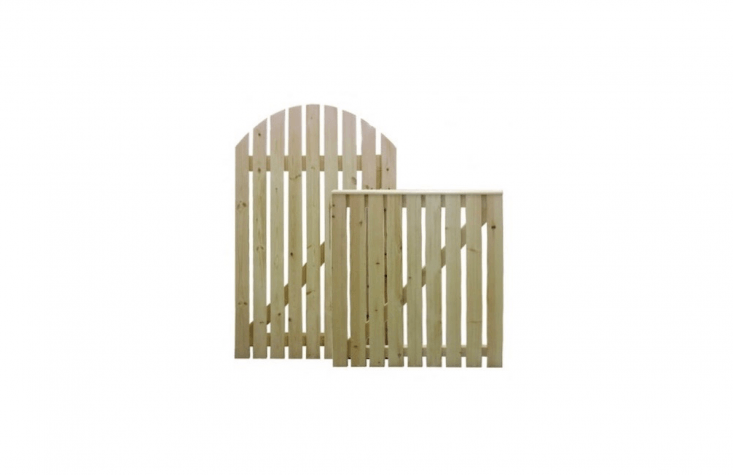 A Pine Wood Picket Gate with either a straight or rounded arch top is available in three off-the-shelf sizes for from £49.99 to £79.99 from Maxwell&#8
