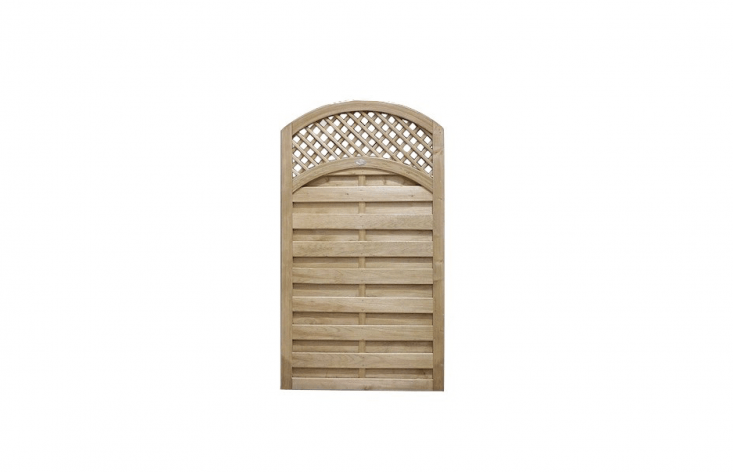 With a convex trellis and slatted lower body planed to create a ribbed effect, a kiln-dried Reinas Gate is available in a range of sizes at prices from £50 to £58.