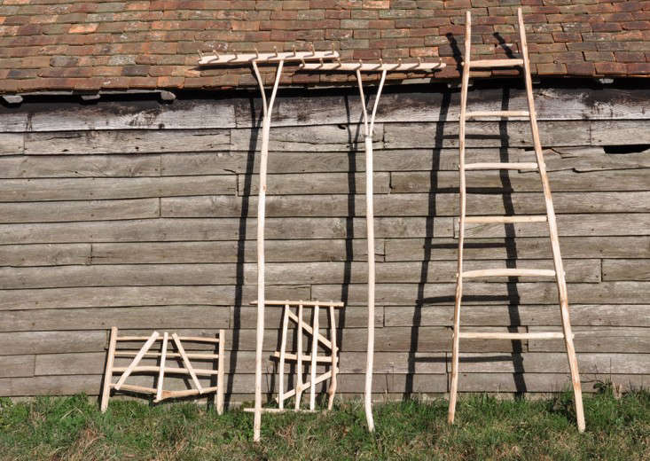 Hurdles, hay rakes and ladder of sweet chestnut, Great Dixter shop