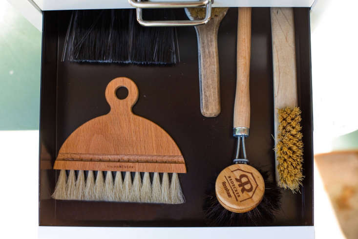 Useful small brushes to clean pots and planters (or to banish dirt from a worktop) include (at top L) the Iris Hantverk Table/Counter Brush; $39 from Fjorn Scandinavian. Redecker&#8