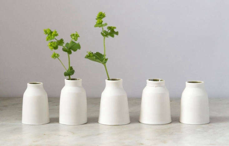 A porcelain wheel-thrown Bud Vase is \$36.3\1 and ships from the UK from Elisabeth B Ceramics via Etsy.