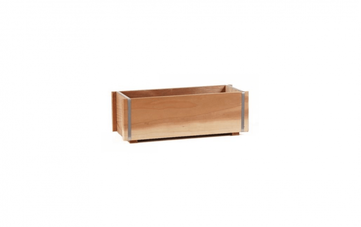 A Banded Redwood Windowbox, reinforced with stainless steel bands, is available in five lengths from  to 7
