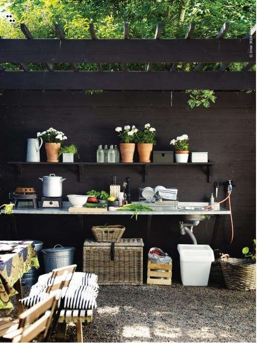 An outdoor kitchen in Sweden from Ikea; the wicker storage chest is the Byholma; $69.99.